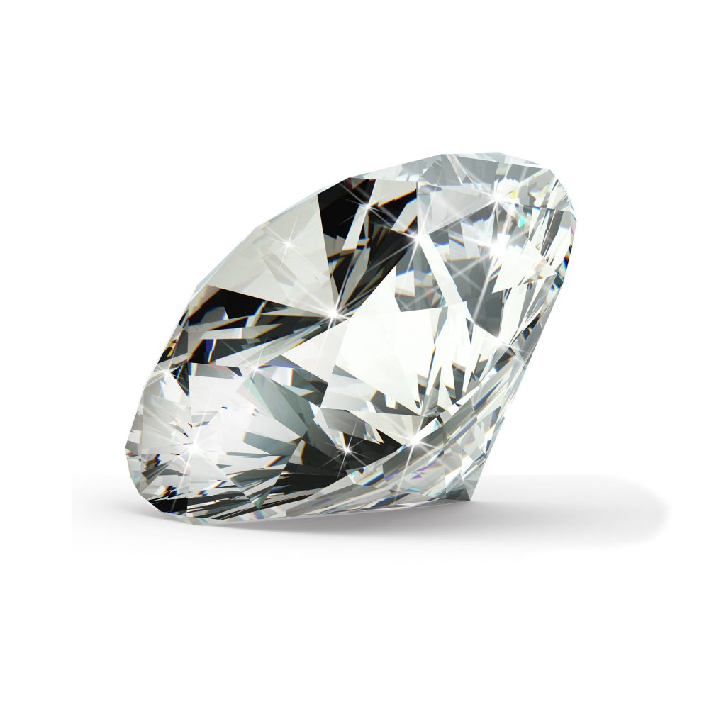 Klar/hvid diamant brilliant round cut fra siden