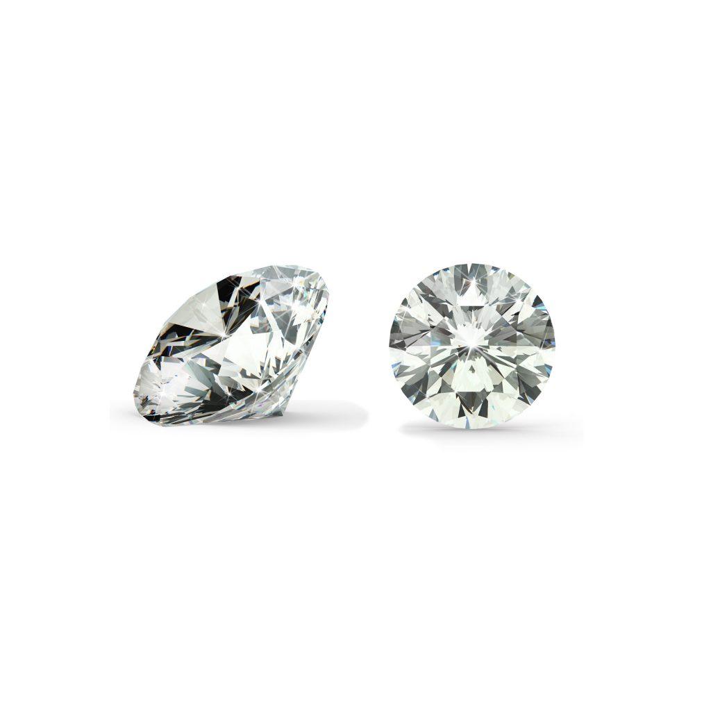 Klar/hvid diamant brilliant round cut side og top