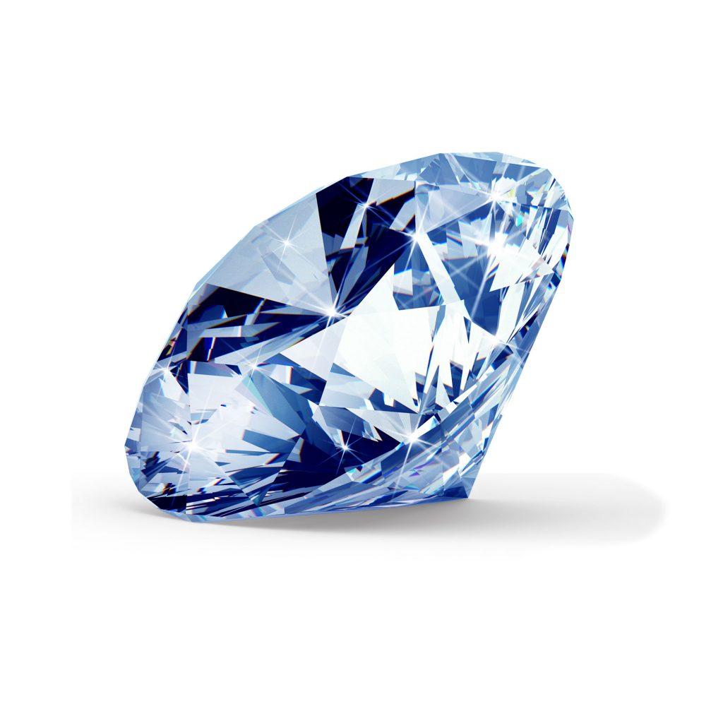 Blå diamant brilliant round cut fra siden