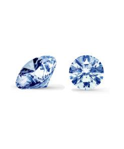 Blå diamant brilliant round cut side og top