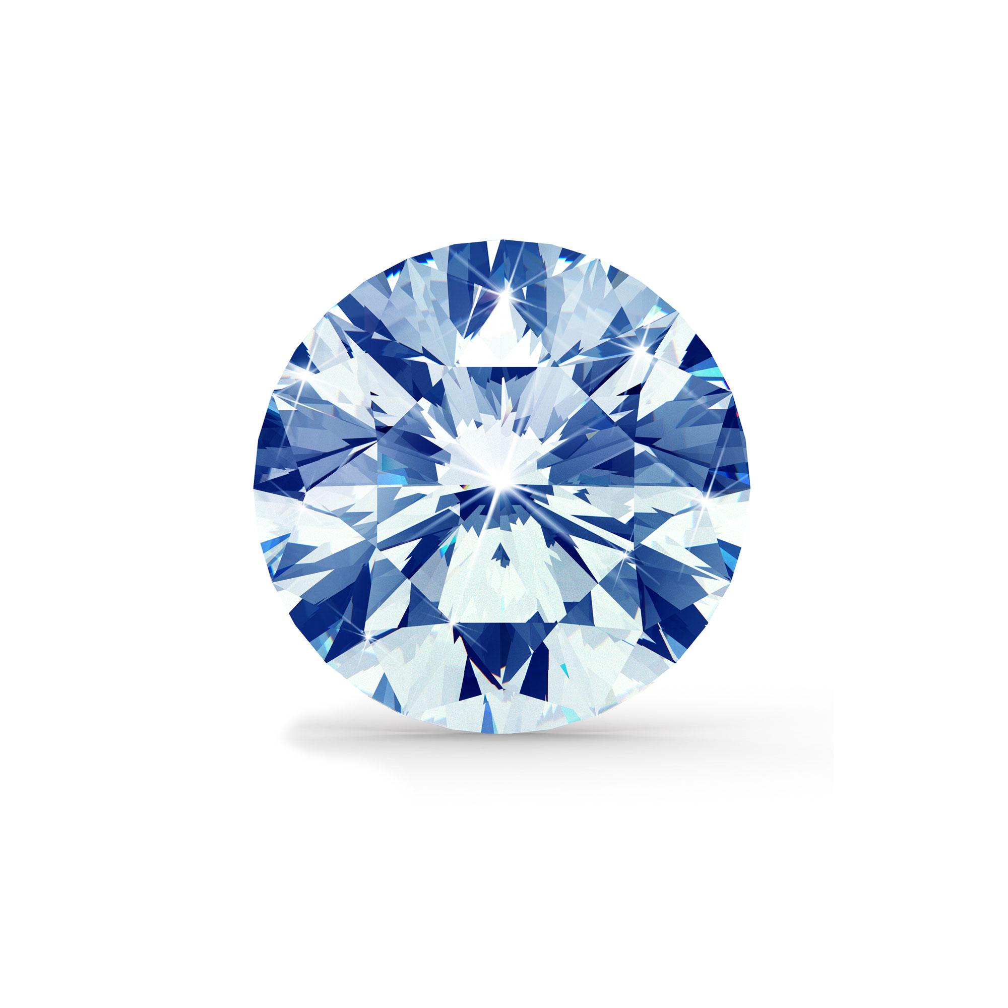 Blå diamant brilliant round cut