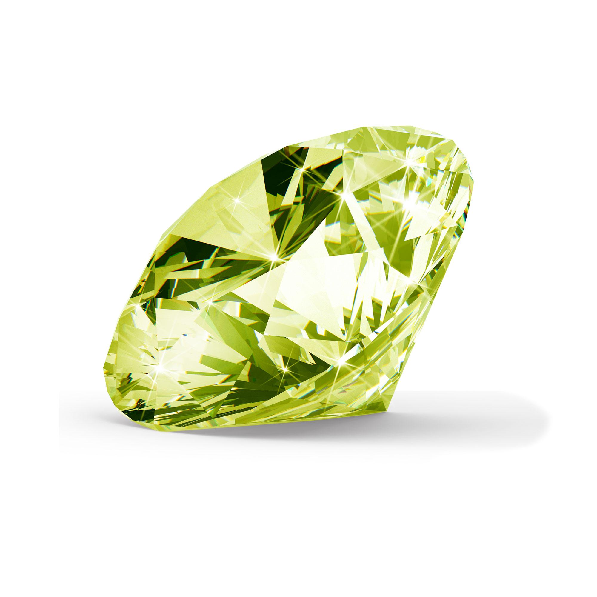 Grøn/gul diamant brilliant round cut fra siden
