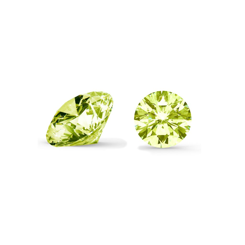 Grøn/gul diamant brilliant round cut side og top