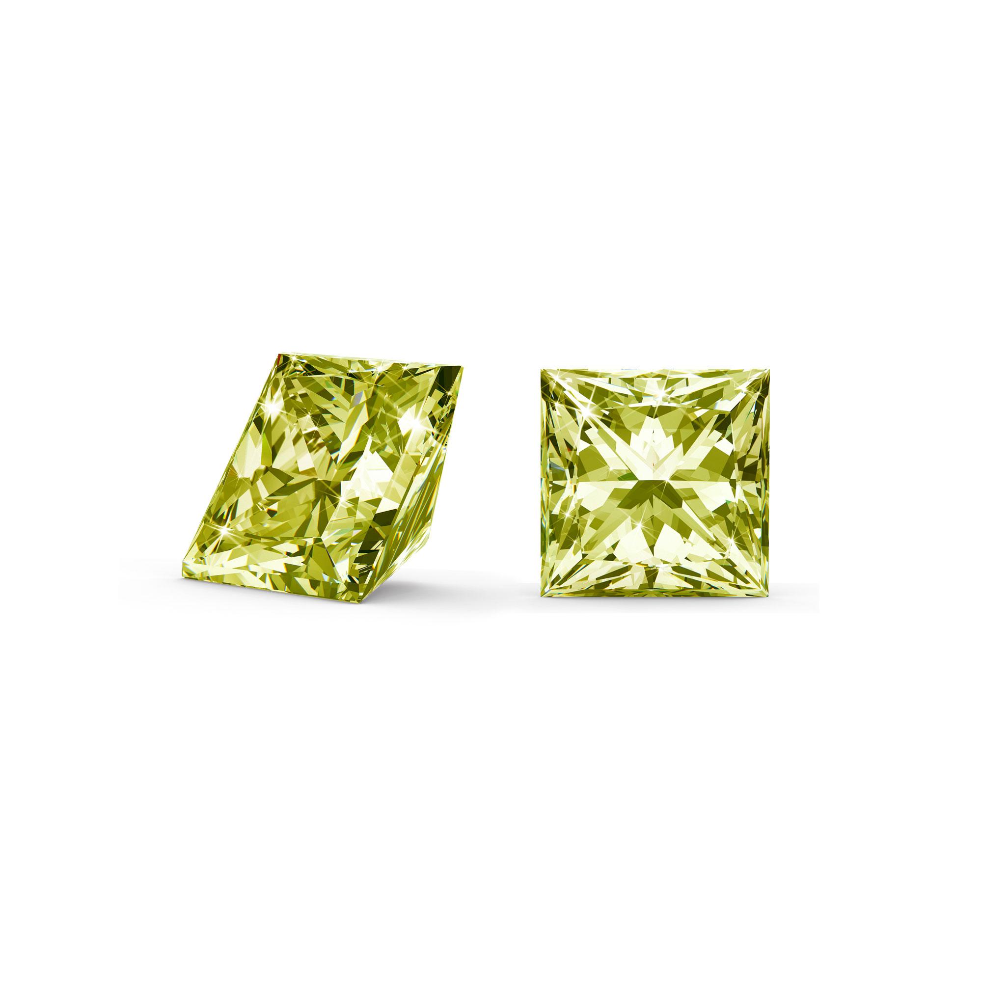 Grøn/gul diamant princess cut side og top