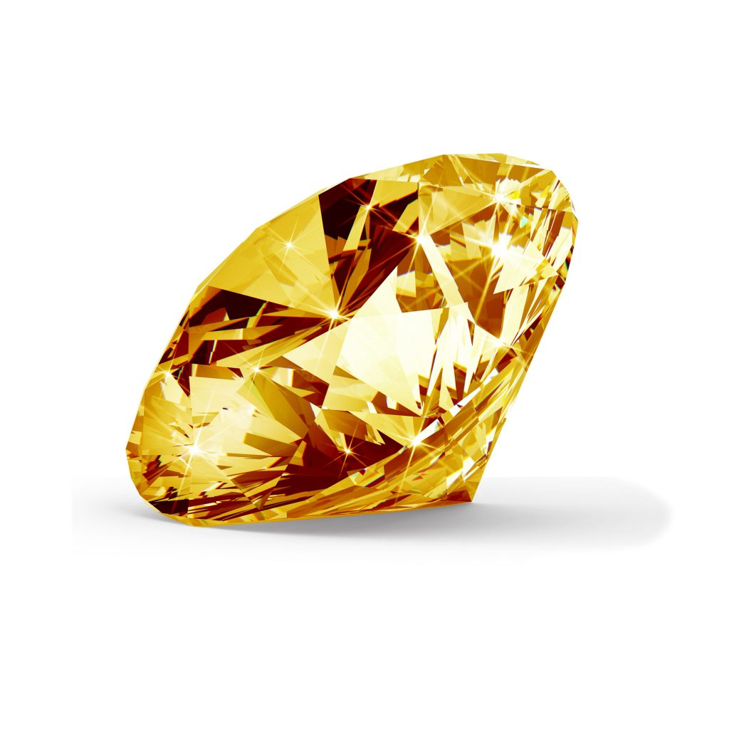 Orange/gul diamant brilliant round cut fra siden