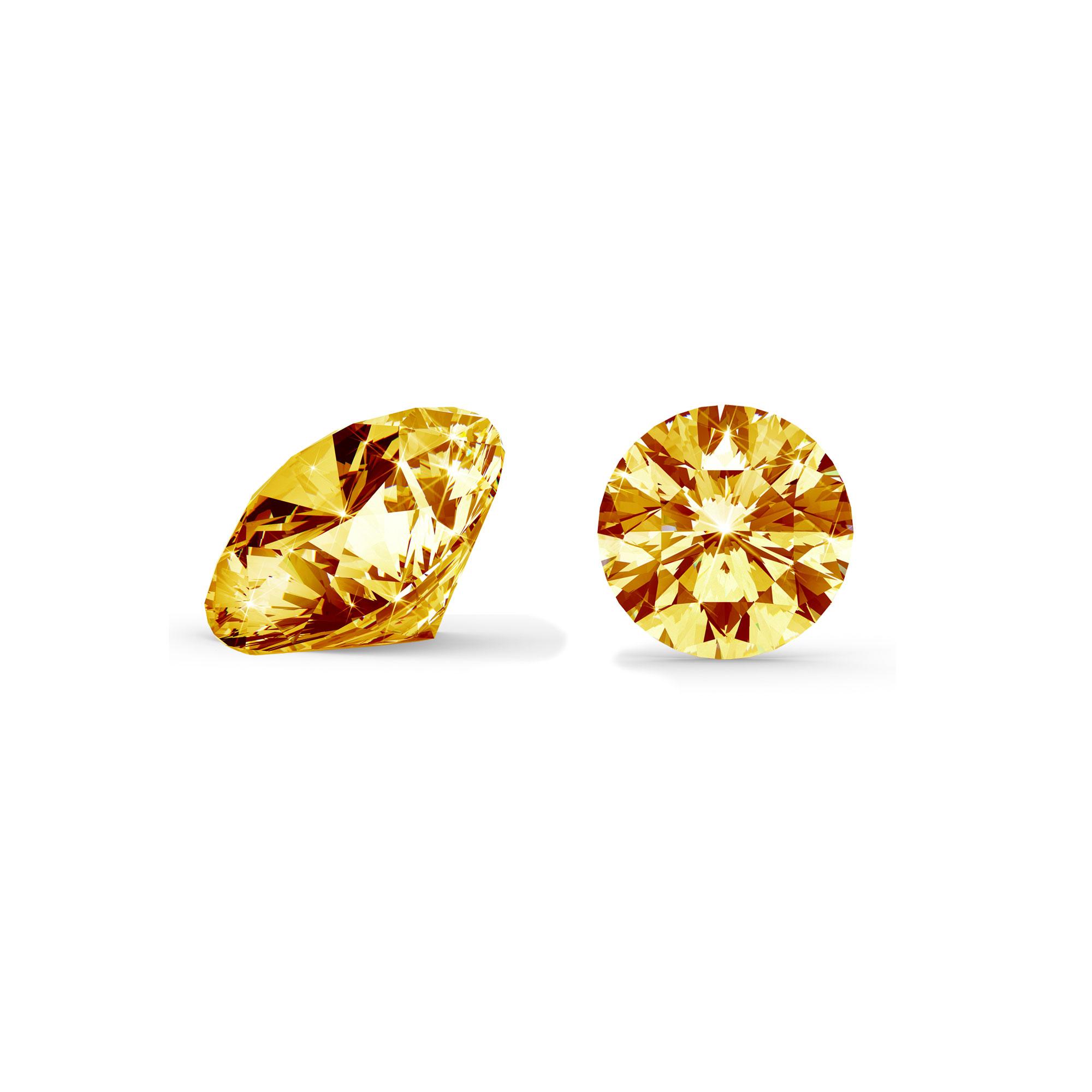 Orange/gul diamant brilliant round cut side og top