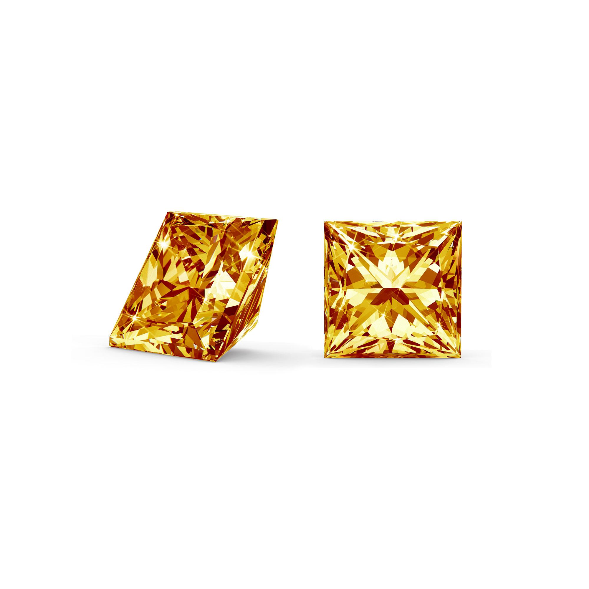 Orange/gul diamant princess cut side og top