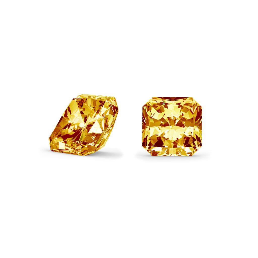 Orange/gul diamant radiant cut side og top