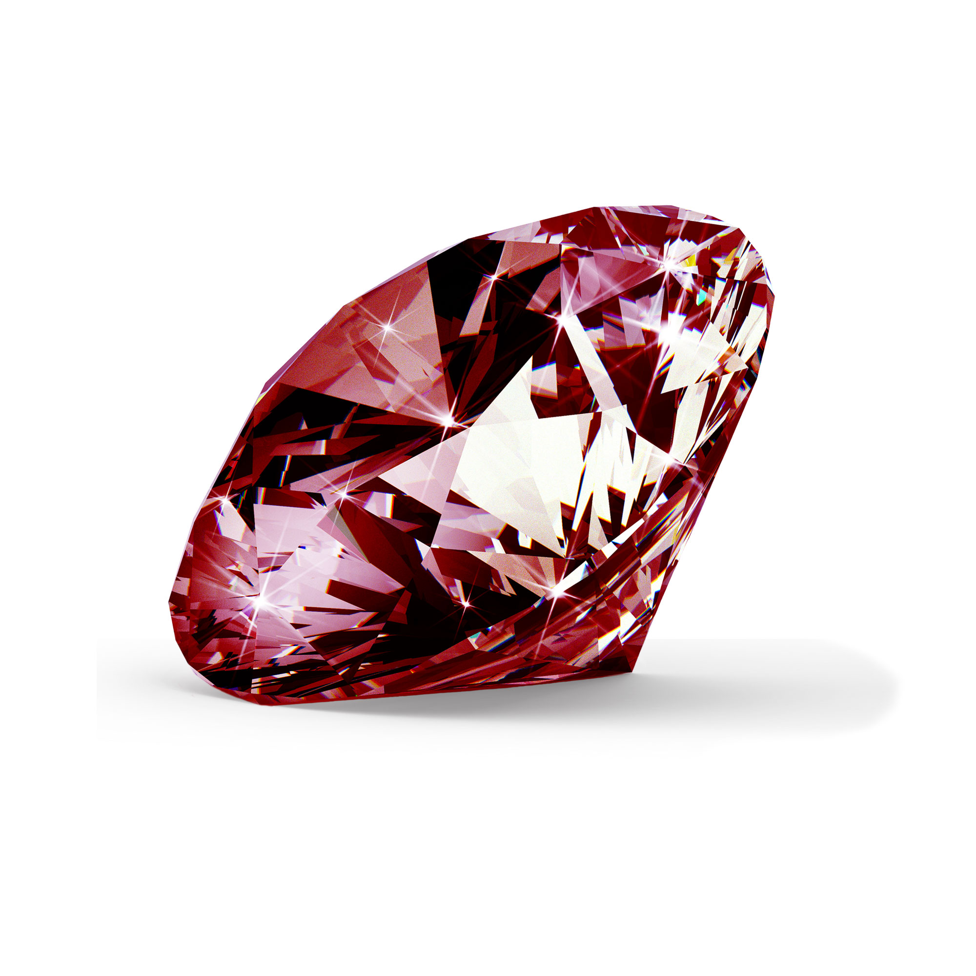 Rød diamant brilliant round cut fra siden