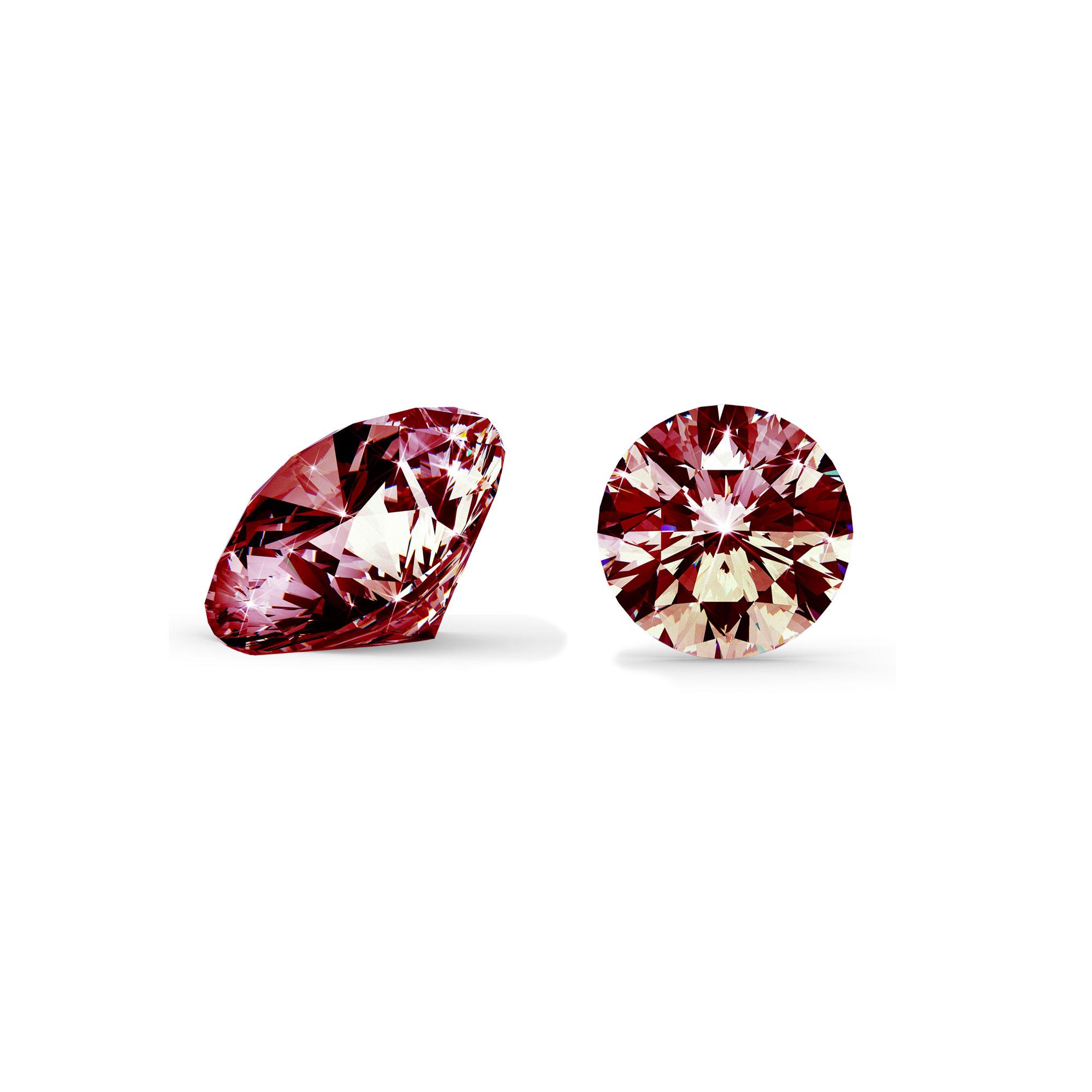Rød diamant brilliant round cut side og top