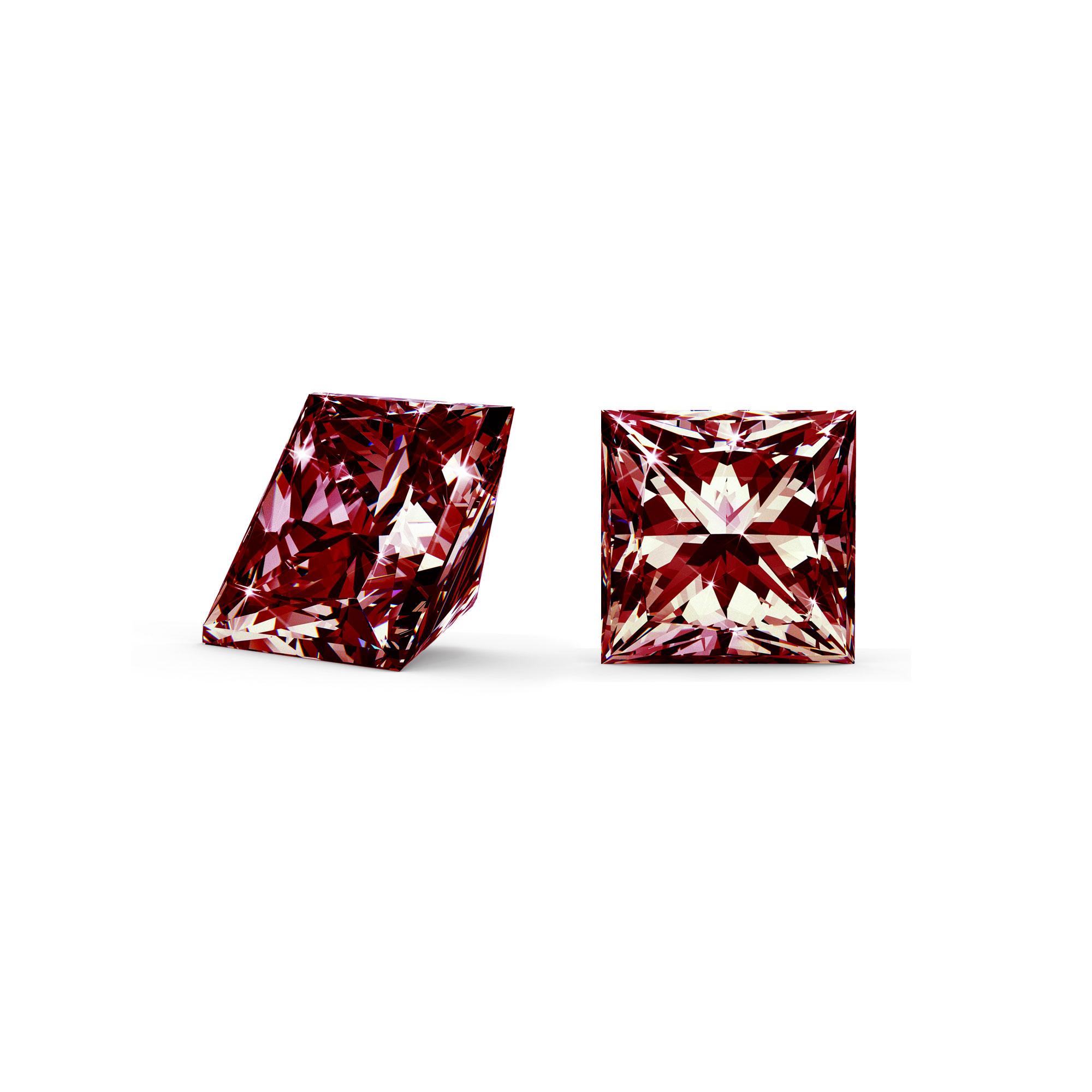Rød diamant princess cut side og top